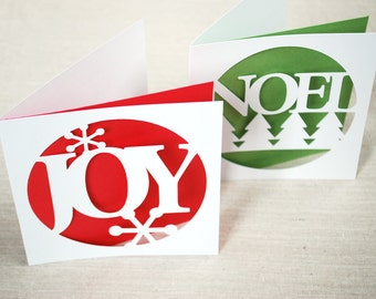 Set of 2 Cut out Joy and Noel Holiday Cards