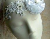 Handmade Antique Look Bridal White Lace Elastic Headband w/ Feather Rhinestone Pearl, Head Accessory Hair Piece for Bride, Bridesmaid, Party