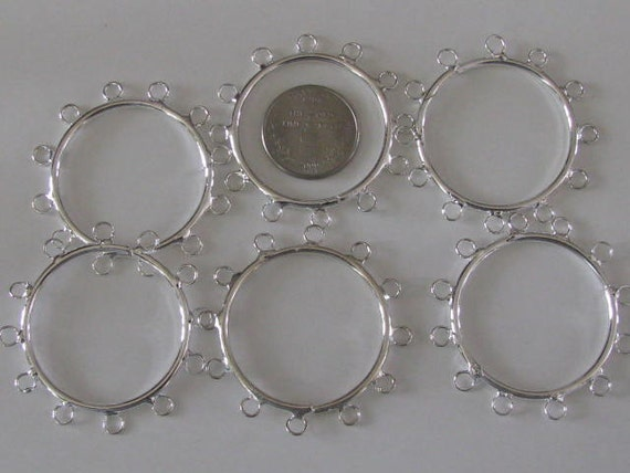 6 ct  Silver Beadable Napkin Rings 40mm 12 loops