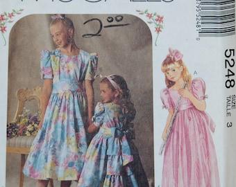 McCall's 5248 Pattern - Uncut - Girl's Dress & Sash - Size 3 Tall - Vintage - Fabulous!