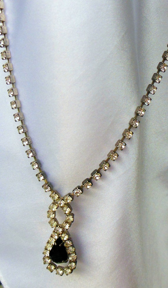 Vintage Necklace 1950s Rhinestone Serenity Knot and Drop