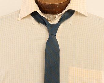 1960s Cutter Cravat Navy Gray Striped Necktie