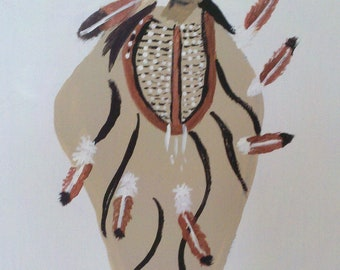 Man Of Great Wisdom, Native American Inspired , Oil painting on Canvas