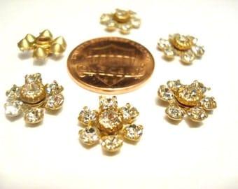 6 Vintage Swarovski Crystal Rhinestone 11mm Flower Findings R92