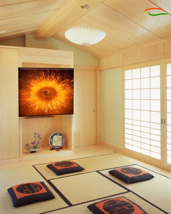 Om painting aum yoga poster yoga wall decor cosmic fission for Yoga decorations home