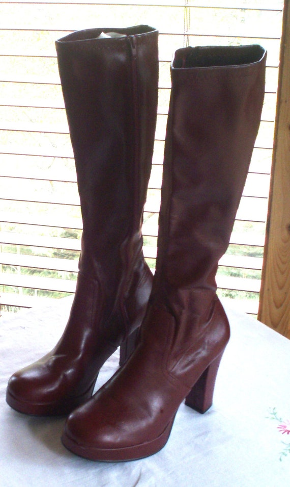 platform go go boots knee high 8 5 rust brown pu leather