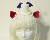 Mini Mog Mini Top Hat with Purple Wings, and Red Puff Antenna with Pair of Ears Set