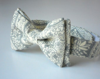 Little Boy Bow Tie in Gray and Yellow Paisley--boys formal wear--ring bearer bow tie