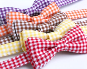 Boys bow tie in red gingham, purple gingham, yellow gingham, orange and brown--perfect baby photography prop--boys gingham bow ties