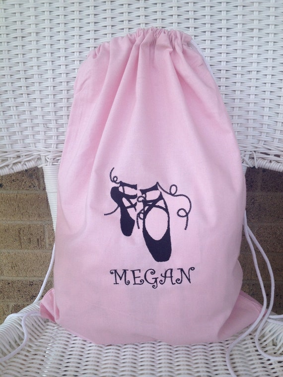 FREE PERSONALIZATION -SALE- Personalization Embroidered Ballet Ballerina Dance Bag, Embroidered Cinch Bag, Ballet Shoes
