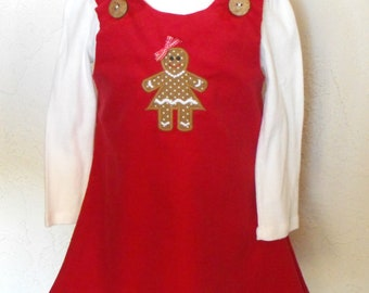 Girls Corduroy Jumper Dress with an Appliqued Gingerbread Girl, girls jumper, girls corduroy dress, girls appliqued dress, corduroy jumper