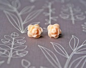Peach Post Rose Flower Earrings - Titanium Hypoallergenic Studs