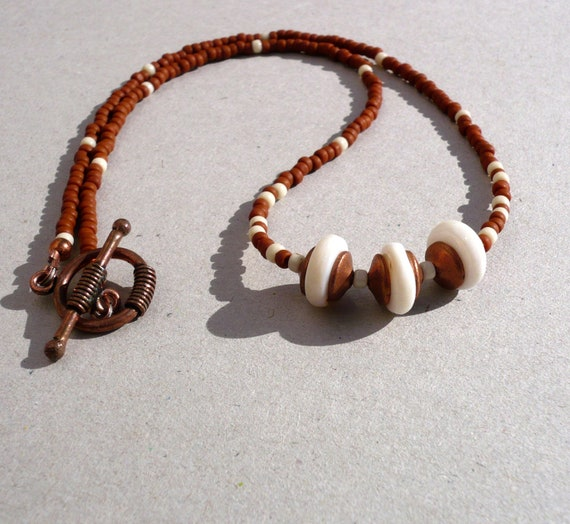 Copper And Ivory Necklace. Shell and Copper Beaded Necklace.Upcycled necklace.