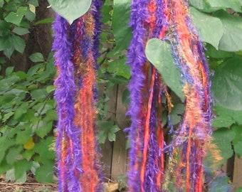 Sunrise purple orange green hand knit petite rectangular shawl