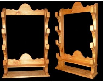 Hand crafted Rifle or Shotgun Display Rack with lower storage shelf for accessories