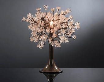 Table Lamp with clear Jumping  Flowers , small desk lamp with clear flowers table lighter.