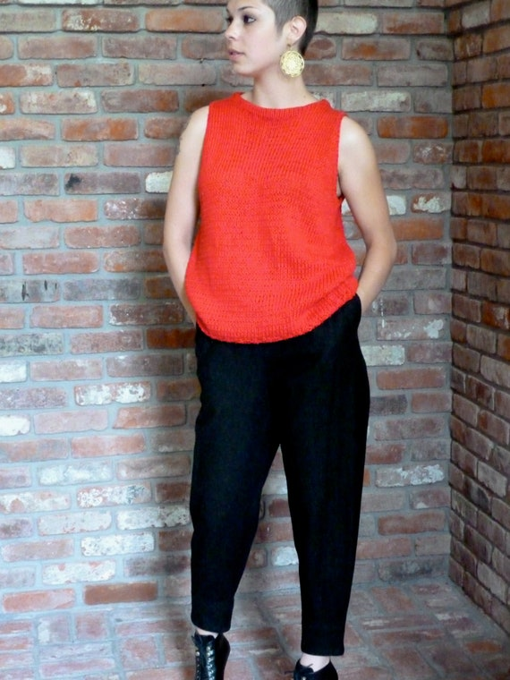 Dorothee Bis Cropped Wool Harem Leisure Pants Cuffed Slouchy Black Wool Crepe Slacks Vintage 1970s NEW