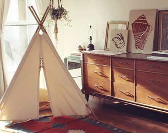 Canvas Teepee With Bamboo Poles