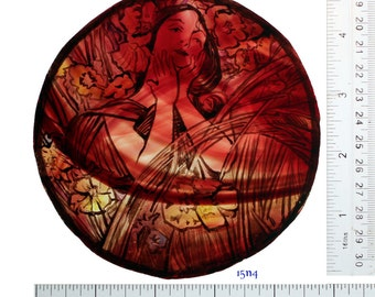Stained Glass window Portrait, Female, hand painted, Warmth of the Pre-Raphaelites, Ref: 15n4