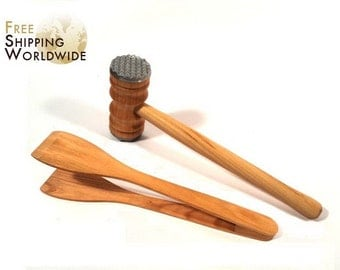 Wooden Meat Tenderizer and Wide Tongs SET - Hammer for softening steaks and meat and Wide Tongs