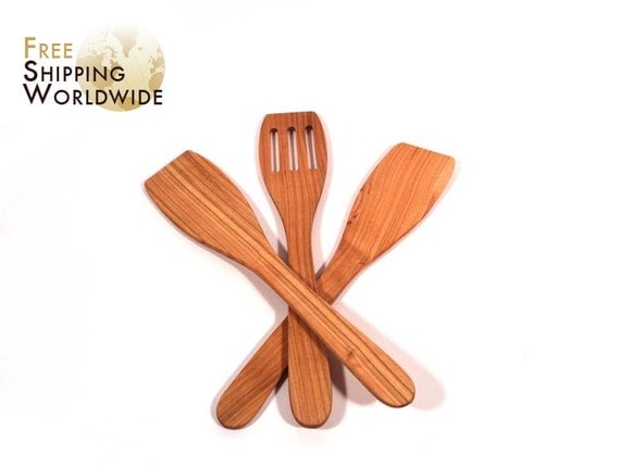 Wooden Spatulas SET of 3 - Two Regular and One Slotted Spatula from Cherry wood