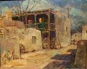 "Original Oil Painting by Leslie Cope ""Evening Shadows"" Isletta, New Mexico Original Frame 1979"