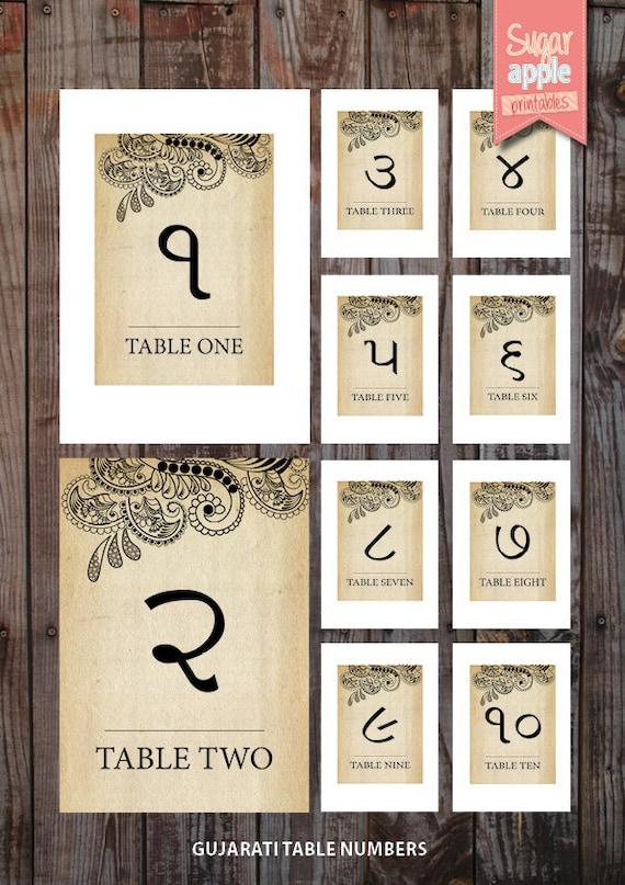 Printable Table numbering indian weddings vintage theme