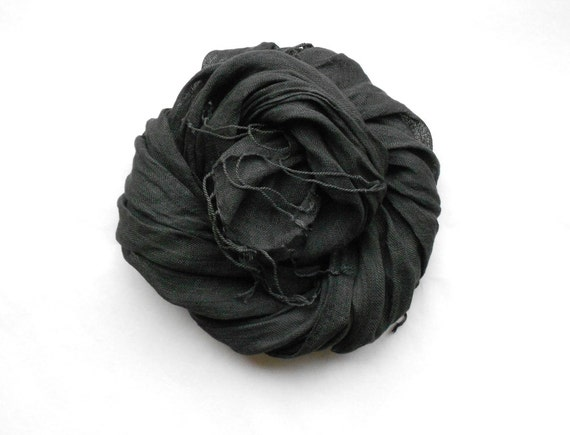 Black Linen Scarf Womens Head or Neck Scarf with cute Flower Brooch