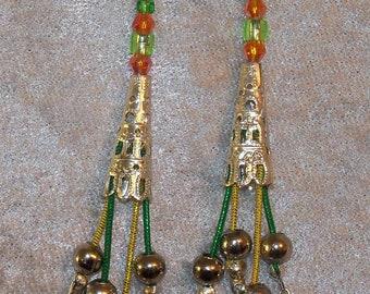 Colorful Festive Dangling Earrings/ Multicolored Drop Earrings with Golden Tone Filigree/ Orange and Green Dangle Earrings