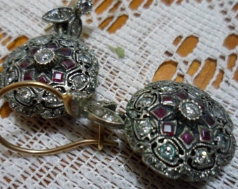 Special Edwardian , Antique handmade earrings, each with 40 diamonds and 8 rubies