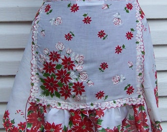 Hanky apron, Shabby Chic apron, Upcycled apron, Christmas apron, with roses & poinsettias vintage hankie into upcycled half apron.