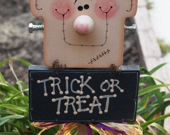 "Frankie ""Trick or Treat"" Yard Decoration - Halloween Frankenstein Wood Sign"