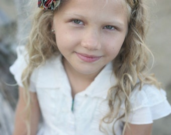 Alexander Henry Mocca and Hollywood Fabric Flower Headband / Fabric Flower Headband / Children Headband / Hard Headband