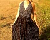 Black and White Polka Dot Upcycled Dress Small