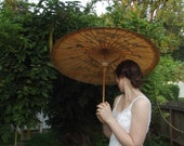 RESERVED For Brecken Hancock Vintage Wedding Bridal Parasol Umbrella Asian Japanese Accessory Tan Black Ready to Ship