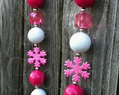 Chunky Rose Pink White Snowflake Necklace Baby Girls Womens