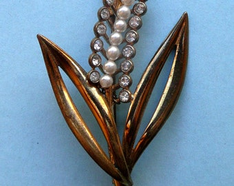 French Hyacinth Brooch Rhinestones and Pearls