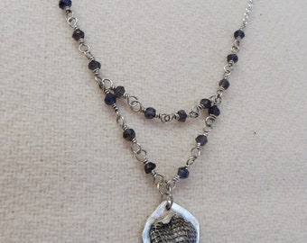 Silver Necklace with Iolite and Abstract Pendant