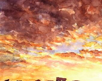 Sunset silhouetting monolithic ruins of Stonehenge- United Kingdom.  Painting Stonehenge art.  Watercolor Stonehenge.  Watercolor painting