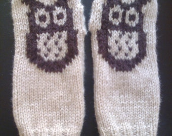 Wrist warmers -  owl -  fingerless mittens - gloves - mitts