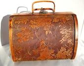 1940's Cedar Wood Hand-etched Antique Purse, Cedar Trinket Box, Antique Picnic Basket, RARE