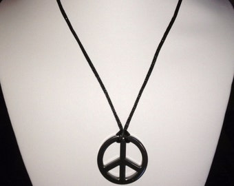 peace sign necklace. hand made necklace. hematite peace sign bead. gift ideas. Mens necklace. women necklace. Unisex necklace.