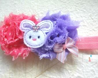 Baby Easter Headband,Purple Pink Bunny headband,Girl's Bunny headband,Baby 1st Easter Headbands,