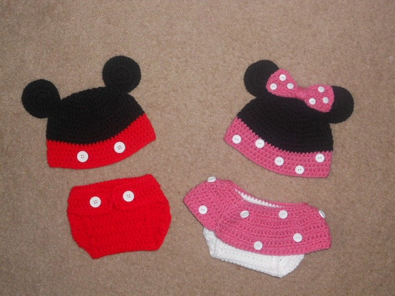 76cf782a1f4 Twin Mickey   Minnie Mouse Crochet Hat and Diaper by CaseyElswick ...