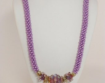 Set - Violet Luster Kumihimo Necklace with Soft Sunset Lampwork Beads and Matching Earrings SRAJD 3520 LETeam