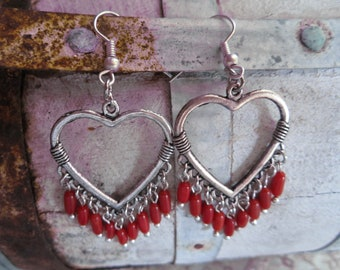 Bohemain Red Coral Heart Earrings