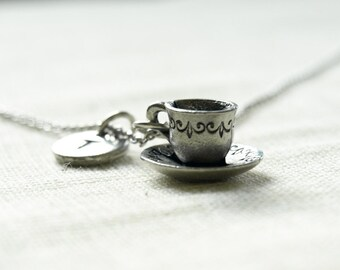 Tea cup and saucer Necklace, tea cup necklace, coffee cup, initial necklace, initial hand stamped, personalized, antique silver, monogram