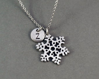 Snowflake necklace, Silver snowflake charm, silver snow flake charm nceklace, initial necklace, personalized, monogram