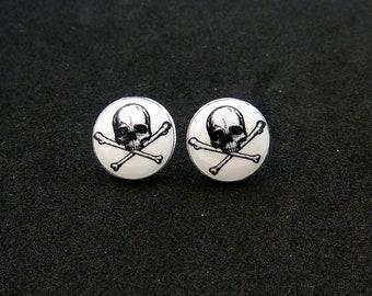 Skull and Crossbone Earrings.  Resin Post Skull Earrings.