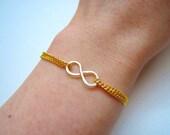 Hammered Infinity Bracelet - Silver Infinity Bracelet - Gold Chain Bracelet